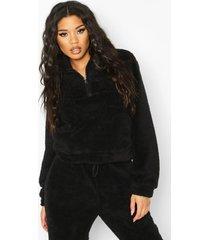 korte nepwollen sweater met buidel, black