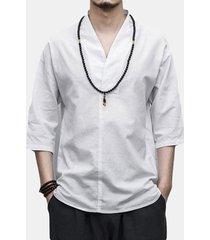 magliette allentate casuali a maniche lunghe con scollo a v in cotone di lino stile cinese vintage da uomo