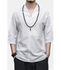 magliette allentate casuali del manicotto del v-collo del mezzo di colore solido del cotone di stile cinese degli uomini