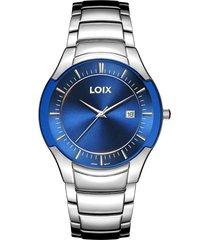reloj loix ref l2029-4 plata/azul