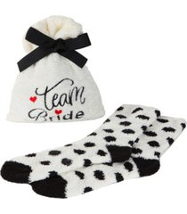 team bride cozy women's socks with gift bag, set of 2