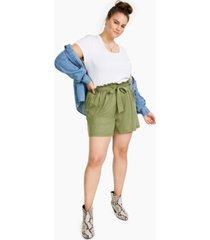 full circle trends plus trendy paperbag-waist shorts