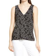 women's nordstrom v-neck tank top, size x-small - black