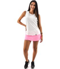 regata rich young fitness academia branca + shorts saia fitness rosa com branco