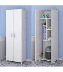 armário multiuso multimóveis para lavanderia/aérea de serviço com porta vassouras branco