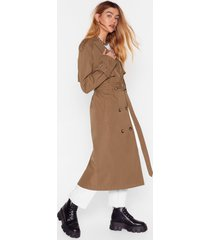 womens hey there tailor double breasted trench coat - khaki