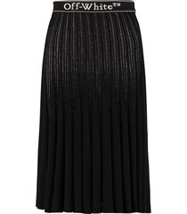 off-white pleated knitted skirt