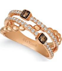 le vian chocolatier chocolate diamonds (1/10 ct. t.w.) & vanilla diamonds (3/8 ct. t.w.) open work ring in 14k rose gold
