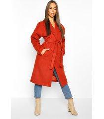 wrap belted longline wool look coat, rust
