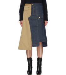 crooked denim-twill panelled skirt