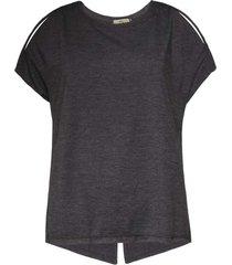 blusa feminina fenda costas cinza mescla