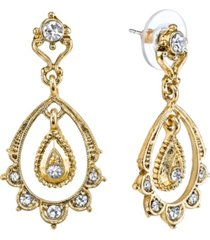 downton abbey gold-tone crystal belle epoch scallop with dangle and post top drop earrings