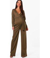 maternity tie front plunge jumpsuit, khaki