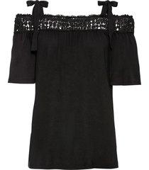 maglia con spalle scoperte e inserto di pizzo (nero) - bodyflirt