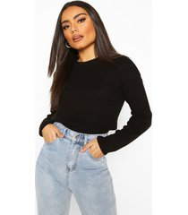 balloon sleeve rib knit sweater, black