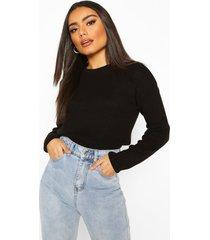 balloon sleeve rib knit sweater, black