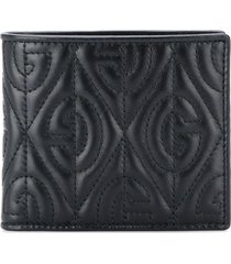 gucci monogram pattern padded wallet - black