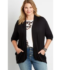 maurices plus size womens black long sleeve slouchy pocket cardigan