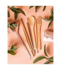 amaro feminino insight jogo de talheres reutilizáveis, bambu