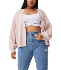 cotton on women's trendy plus size chloe blouson sleeve cardigan