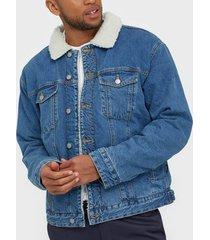 dr denim caleb sherpa jacket jackor blå