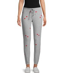 chaser women's heathered heart-print joggers - heather grey - size l
