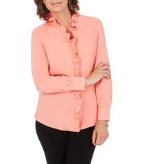 women's foxcroft gwen stretch ruffle button-up shirt, size 8 - coral