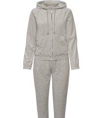 velour tracksuite sweat-shirts & hoodies tracksuits - sets grijs rosemunde