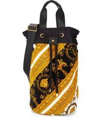 versace printed cotton beach bag - black gold