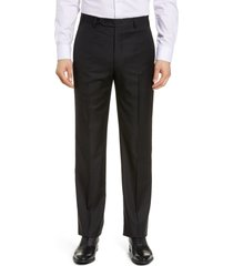 men's big & tall zanella todd relaxed fit flat front solid wool dress pants, size 46 x - black