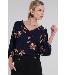 blusa feminina ampla estampada floral manga 3/4 decote v azul marinho