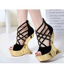 ps328 cutie strappy alien wedge sandals, us size 4-8.5, black