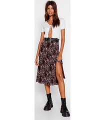 womens grow the difference floral midi skirt - black