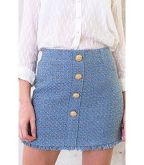 tweed rok luxury blauw