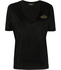 dsquared2 mirrored logo v-neck t-shirt - black