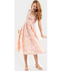 darla floral smocked midi dress - peach
