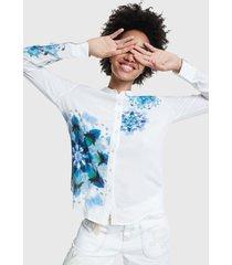 blusa desigual blanco - calce regular