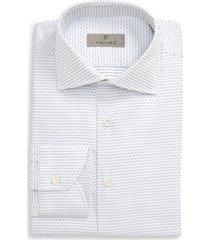 men's big & tall canali regular fit geometric dress shirt, size 18 - blue