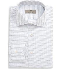 men's big & tall canali regular fit geometric dress shirt, size 18.5 - blue