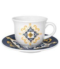 jogo de xícaras chá/ café com leite 200 ml sáo luis oxford