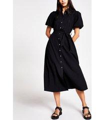 river island womens black puff sleeve midi shirt dress