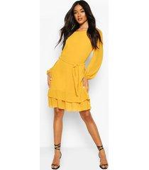 belted ruffle skater dress, mustard