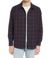 men's a.p.c. rodney mesh lined plaid shirt jacket, size medium - blue