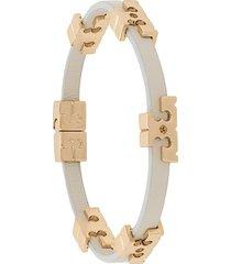 tory burch serif-t single wrap bracelet - white