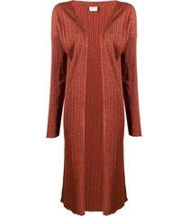 alysi glitter detail ribbed knit cardigan - orange