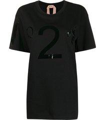nº21 oversized vinyl logo t-shirt - black