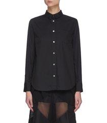 back pleat cotton poplin shirt