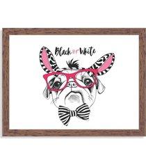 quadro decorativo black or white pug madeira - médio