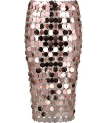 paco rabanne paillette-embellished fitted skirt - pink