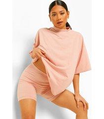petite geribbeld t-shirt en fietsbroekje, roze